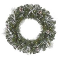 36-Inch Pre-Lit Frost and Glitter Pinecone Wreath