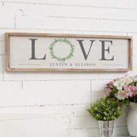 Love Wreath 30-Inch x 8-Inch Barnwood Frame Wall Art