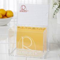 Monogram Elegance Acrylic Recipe Box