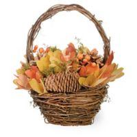 Boston International Artificial Autumn Splendor Pumpkin Basket in Orange