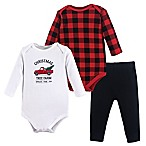 "Hudson Baby® Size 0-3M 3-Piece ""Christmas Tree Farm"" Layette Set in Red"