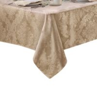 Barcelona Damask 60-Inch x 84-Inch Oval Tablecloth in Beige