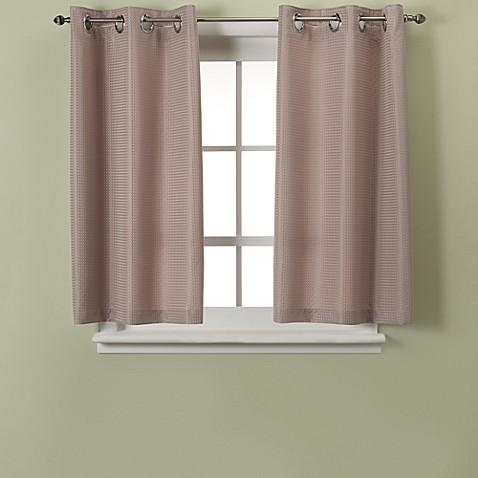 Hookless Waffle 45 Inch Bath Window Curtain In Taupe Bed Bath Beyond