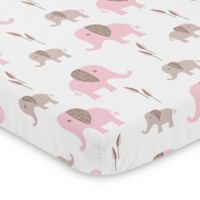 Sweet Jojo Designs Pink and Taupe Mod Elephant Mini Crib Sheet