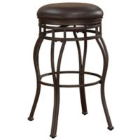 """American Woodcrafters Leather Swivel Villa 26"""" Bar Stool in Taupe/gray"""