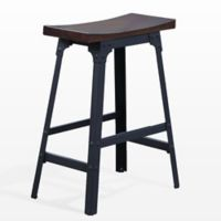 """American Woodcrafters Metal Upholstered Carson 24"""" Bar Stool in Matte Black"""