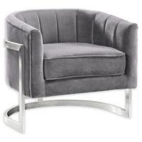 Armen Living® Velvet Upholstered Kamila Chair in Grey