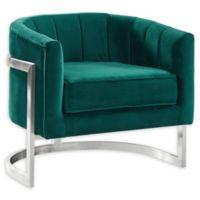 Armen Living® Velvet Upholstered Kamila Chair in Green