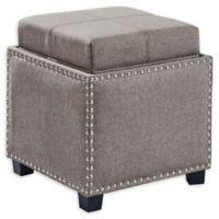 Armen Living® Linen Upholstered Blaze Ottoman in Brown