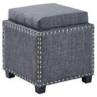 Armen Living® Linen Upholstered Blaze Ottoman in Grey
