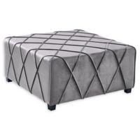Armen Living® Velvet Upholstered Gemini Ottoman in Grey