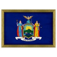 New York Textured State Flag 34-Inch x 24-Inch Framed Wall Art