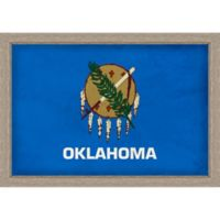 Oklahoma Textured State Flag 34-Inch x 24-Inch Framed Wall Art