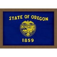 Oregon Textured State Flag 34-Inch x 24-Inch Framed Wall Art
