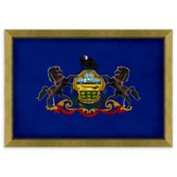 Pennsylvania Textured State Flag 34-Inch x 24-Inch Framed Wall Art