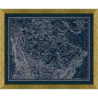 Blueprint Canada Map 28-Inch x 34-Inch Framed Wall Art in Gold