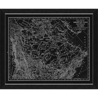 Blueprint Canada Map 28-Inch x 34-Inch Framed Wall Art in Black