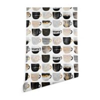 Deny Designs Elisabeth Fredriksson Pretty Coffee Cup 2-Foot x 8-Foot Wallpaper in White