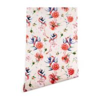 Deny Designs Marta Barragan Camarasa Flowery Flamingo 2-Foot x 10-Foot Wallpaper in Pink