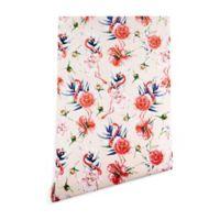 Deny Designs Marta Barragan Camarasa Flowery Flamingo 2-Foot x 10-Foot Wallpaper in Pink