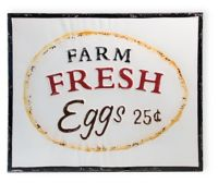 Boston International Farm Fresh Eggs Metal Sign
