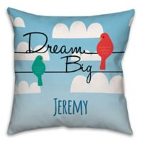 Clouds Square Throw Pillow in Blue/White