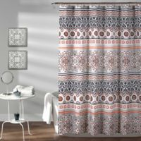 Nesco Stripe Shower Curtain In Navy Coral