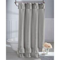 Wamsutta® Vintage Ruffle 72-Inch x 96-Inch Shower Curtain in Grey