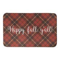 Designs Direct Happy Fall Plaid 34-Inch x 21-Inch Bath Rug in Red