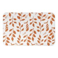 "Designs Direct Leaf 34"" x 21"" Bath Mat in Orange"