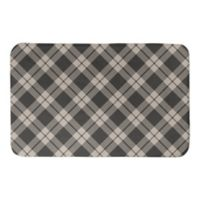 "Designs Direct Plaid 34"" x 21"" Bath Mat in Brown"