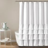 Ella Lace Ruffle Shower Curtain in White