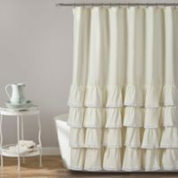 Ella Lace Ruffle Shower Curtain in Ivory
