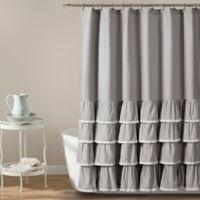 Ella Lace Ruffle Shower Curtain in Grey