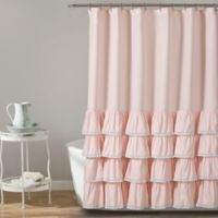 Ella Lace Ruffle Shower Curtain in Blush