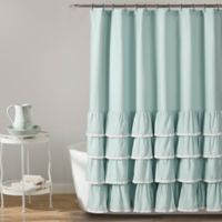 Ella Lace Ruffle Shower Curtain in Blue