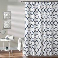 Bellagio Trellis Shower Curtain in Navy