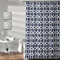 Sequoia 72-Inch x 72-Inch Geometric Shower Curtain in Navy