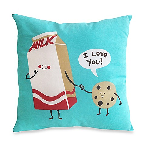 Threadless Cookies and Milk Throw Pillow