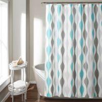 Mid-Century Geometric Shower Curtain in Blue
