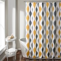 Mid-Century Geometric Shower Curtain in Gold