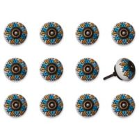 Knob-It 12-Pack Handpainted Vintage Ceramic Knob Set in Blue/Yellow