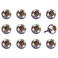 Taj Hotel 12-Pack Ceramic Vintage Knobs in Orange/White
