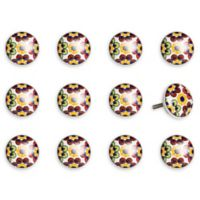 Taj Hotel Hand-Painted Ceramic 12-Piece Floral Knob Set in Yellow/Blue