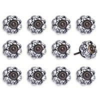 Taj Hotel Hand-Painted Ceramic 12-Piece Floral Knob Set in White/Black