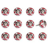 Taj Hotel Hand-Painted Ceramic 12-Piece Floral Knob Set in White/Red