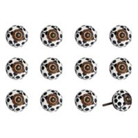 Taj Hotel 12-Piece Hand Painted Round Knob Set in Black/White