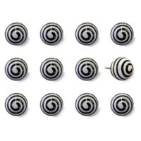 Knob-It Taj Hotel 12-Pack Swirl Vintage Hand-Painted Ceramic Knob Set in White/Black