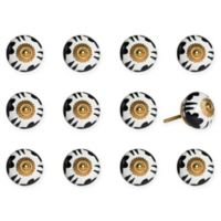 Knob-It 12-Pack Handpainted Vintage Ceramic Knob Set in Black/Yellow/White