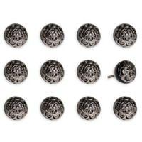 Taj Hotel 12-Piece Hand Painted Round Knob Set in Black/Chrome